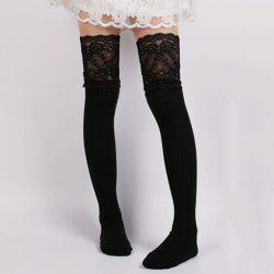 Pair of Chic Lace Edge Solid Color Knitted Stockings For Women -