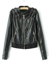 Punk Style Stand Collar Solid Color Long Sleeve PU Leather Jacket For Women -