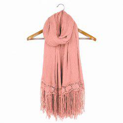 Chic Lace Tassel Embellished Solid Color Scarf For Women