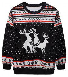 Cute Round Neck Fawn Print Long Sleeve Christmas Sweatshirt For Women