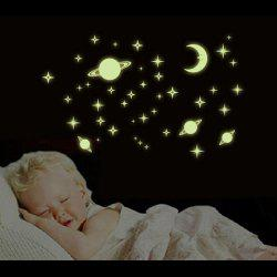 Microcosmos Planet Fluorescent Wall Stickers - YELLOW
