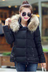 Stylish Hooded Long Sleeve Faux Fur Embellished Slimming Coat For Women