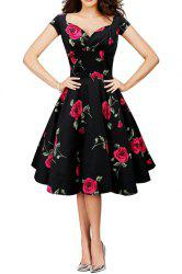 Vintage Style Sweetheart Neck Short Sleeve Flower Pattern Ruched Women's Dress
