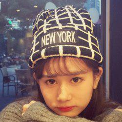 Chic Letters Applique Embellished Gingham Pattern Knitted Beanie For Women -