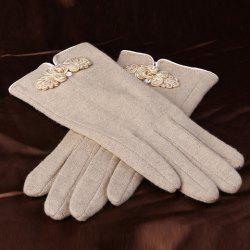 Pair of Chic Chinese Knot and Bead Embellished Warmth Gloves For Women
