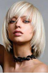Attractive Medium Off-White Capless Stylish Side Bang Straight Synthetic Wig For Women -