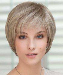 Bob Style Short Capless Vogue Straight Side Bang Cute Flax Synthetic Wig For Women -