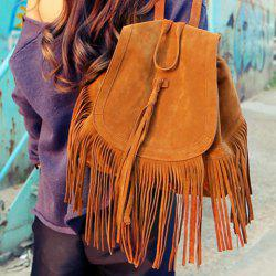 Trendy Fringe and Solid Color Design Women's Satchel - BROWN