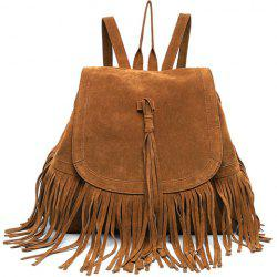 Trendy Fringe and Solid Color Design Women's Satchel - DEEP BROWN