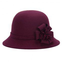 Chic Flower Shape Embellished Bright Color Felt Cloche Hat For Women -