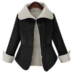 Trendy Turn-Down Collar Fuzzy Long Sleeve Coat For Women