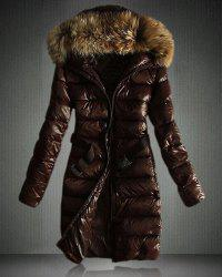 Faux Fur Hooded Quilted Coat - BROWN