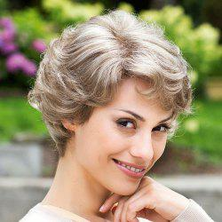 Elegant Short Side Bang Capless Fluffy Curly Trendy Golden Gray Synthetic Wig For Women -