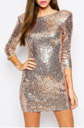 Sexy Round Neck 3/4 Sleeve Sequined Bodycon Women's Club Dress -