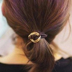 Sweet Heart Double-Layered Elastic Hair Band For Women - COFFEE
