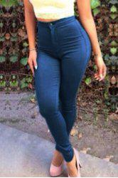 Brief Buttoned Deep Blue Jeans For Women