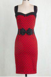 Vintage Sweetheart Neck Sleeveless Polka Dot Bodycon Women's Dress -