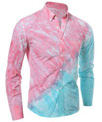 3D Tie-Dye Abstract Ombre Pattern One Pocket Shirt Collar Long Sleeves Men's Button-Down Shirt