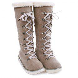 Concise Lace-Up and Suede Design Women's Snow Boots -
