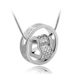 Rhinestone Heart Ring Pendant Necklace - SILVER
