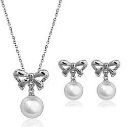 A Suit of Stylish Faux Pearl Hollow Out Bowknot Necklace and Earrings For Women -