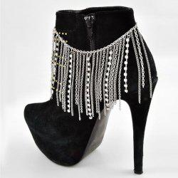Charming Rhinestone Hang Claw Chain Boot Anklet - SILVER