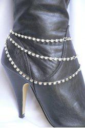 Rhinestone Claw Chain Layered Boot Anklet -