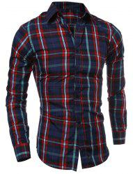 Casual Turn-down Collar Color Block Checked Print Slimming Men's Long Sleeves Shirt - RED