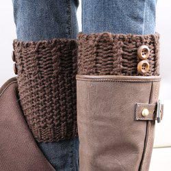 Pair of Chic Button Embellished Crochet Knitted Boot Cuffs For Women - COFFEE