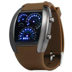 Rubber Band LED Car Watch / Table with Blue Light Display Time Arch Shaped -