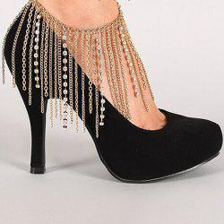 Layered Rhinestone Hang Claw Chain Boot Anklet - GOLDEN