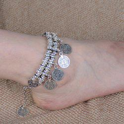 Vintage Dull Polish Punk Coin Tassel Indian Boot Anklet -