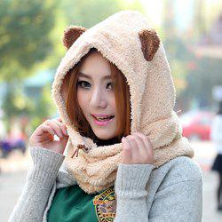 Drawstring Bear Ear Downy Neck Animal Hoodie Hat - RANDOM COLOR