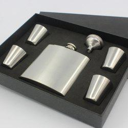 Portable 6oz Stainless Steel Solid Color Flask Alcohol Flagon + 4 Cups + Hopper Set -