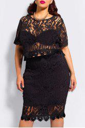 See-Through Crop Top and Bodycon Skirt Two Piece Lace Dress