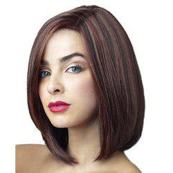 Stunning Straight Bob Style Fashion Medium Deep Brown Mixed Heat Resistant Fiber Wig For Women -