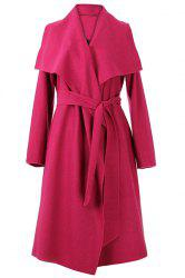 Vintage Style Turn-Down Collar Long Sleeve Pure Color Self Tie Belt Women's Coat -