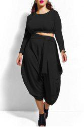 Stylish Solid Color Long Sleeve Crop Top and High Waist Irregular Pantskirt Twinset For Women