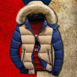 Zipper Pocket Color Splicing Rib Hem Hooded Long Sleeves Men's Thicken Padded Coat - KHAKI