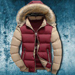 Zipper Pocket Color Splicing Rib Hem Hooded Long Sleeves Men's Thicken Padded Coat - COLORMIX
