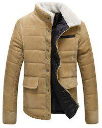 Fur Collar PU Leather Spliced Flap Pocket Long Sleeves Fitted Men's Thicken Corduroy Padded Coat -