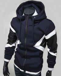Hit Color PU Leather Spliced Triangle Pattern Front Pocket Drawstring Hooded Long Sleeves Men's Hoodie - CADETBLUE