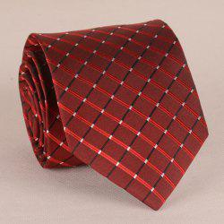 Stunning Checkered Pattern 8CM Width Wine Red Tie For Men -