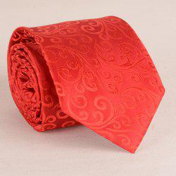 Stunning Flower Rattan Jacquard 8CM Red Tie For Men