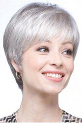 Graceful Short Inclined Bang Synthetic Vogue Silvery Gray Straight Capless Wig For Women