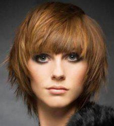 Stylish Brown Mixed Full Bang Capless Stunning Short Fluffy Straight Synthetic Wig For Women -