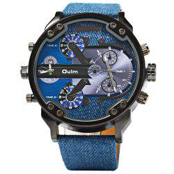 Oulm 3548 Male Quartz Watch Dual Movt Big Dial Wristwatch - BLUE
