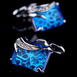 Pair of Stylish Blue Faux Gem and Rhinestone Embellished Cufflinks For Men -