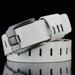 Stylish Pin Buckle Stripy PU Wide Belt For Men - WHITE