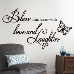 Chic Letter Butterfly Pattern Removeable Wall Sticker -